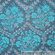 BonEful Fabric FQ Cotton Quilt Amy Butler Gray Blue Aqua Pink VTG Flower Damask