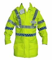 New Ex Police Hi Viz Breatheble Classic Waterproof Coat Loops Security Marshal