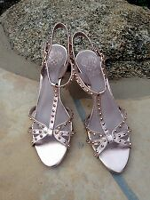 VINCE CAMUTO Metallic Pink Leather Studded Stiletto Sandal 9M Mint