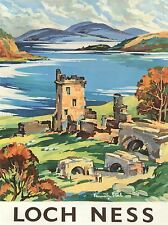 TRAVEL SCOTLAND CASTLE LOCH NESS BRITISH RAILWAYS ART POSTER PRINT LV4098