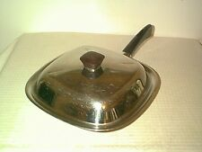 "NICE VINTAGE BRIDGEPORT 10"" SQUARE SKILLET & LID TRI PLY COPPER CORE STAINLESS"