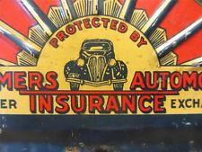 Vintage Metal Farmer's Insurance Plate Tag Sign   Old Antique Automobile 8617