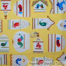 BonEful Fabric FQ Cotton Quilt Yellow White Wedding LOVE BIRD House Cage Cottage