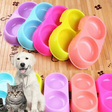 Cute Pets Dog Puppy Cat Food Water Feeding Double Twin Plastic Bowl random color