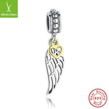 925 Sterling Silver Angel Wing Pendant &Charm Fit European 14K Gold Heart Dangle