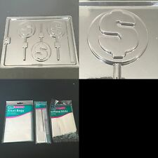 Dollar Sign $ Chocolate Candy Soap Mold Kit INCLUDES lollipop sticks bags ties