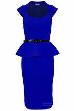 Ladies Belted Peplum Knee Length Frill Pencil Skirt Bodycon Womens smart Dress