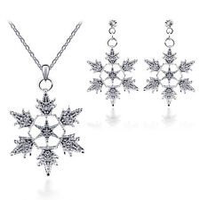 Elegant Wedding Gift Snowflake Crystal Pearl Jewelry Set necklace earring stud