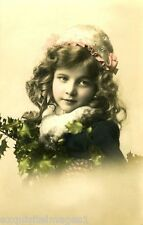 c1900 French Christmas Photo~Pretty Girl~Holly Branchs~Bonnet~ NEW Note Cards