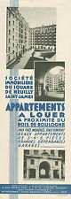 PUBLICITE  SQUARE DE NEUILLY SAINT JAMES APPARTEMENTS A LOUER  PARIS  AD  1925