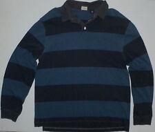 Mens XL Gap Long Sleeve Polo Rugby Shirt Striped Slate Blue Black