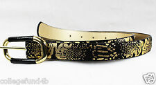 INC International Concepts Belt Snake Oval Buckle Black & Gold Size M NWT $36.50