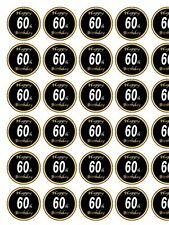 "Novelty 60th Birthday Black / Gold PRECUT 30 x 1.3"" wafer paper cake toppers"
