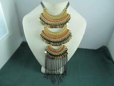 EXPRESS Silver Tone Tribal Necklace NEW  $49.90 RED, BLACK, GOLD