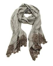 Loro Piana Grey Cashmere Plaid & Crochet Lace Trim Scarf
