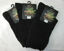 Bamboo Women's Socks Without Rubber Extra Soft Rim Black 3 Pairs US 8-11