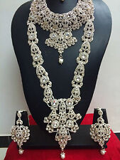 Indian Bollywood Fashion Ethnic Wedding Bridal Rose Gold 8 PCS Jewelry Set