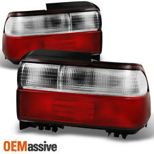 93-97 Toyota Corolla 4Dr Sedan Red Clear Tail Lights Replacement Pair Set