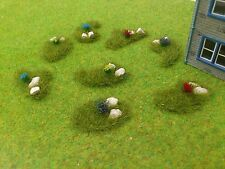 New OO/HO 8 Random Shaped Rubble Flower Grass Mounds Railway/Diorama's/Scenery!