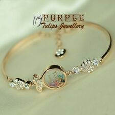 Cute Rainbow Fish Bangle SWAROVSKI Elements CRYSTA Bracelet,18K Rose Gold Plated