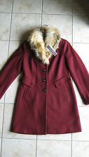 NEW Dana Buchman Removable Faux Fur Trim Wool Blend Long Coat Jacket Small NICE!