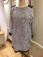 New!! Sz XL 14 16 18 Black & White Paisley Print Long Sleeve Shift Dress Tunic