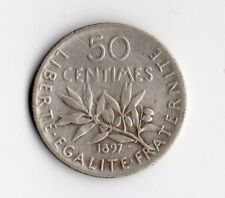 TOP QUALITE 50 CENTIMES SEMEUSE ARGENT DE 1897 @ LA PLUS RARE @ TOP QUALITE !!
