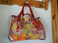 Brighton Retired Butterfly Plastic with 2 small bags Large Bag Purse SET