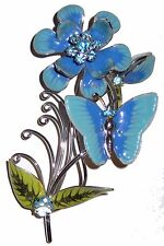 Vintage Enamel Flower Butterfly Pin Brooch Enamel Silver Mesh Metal Sculpted