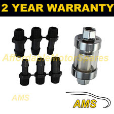 "1/4"" 5/16"" 3/8""  MULTI FIT SMALL IN LINE FUEL FILTER CHROME METAL & GLASS x1"