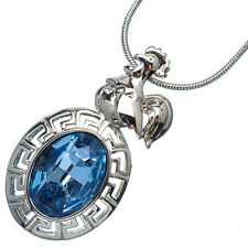 4.76 Ct Oval Sapphire 18K White Gold Plated 12 Chinese Zodiac Rooster Pendant
