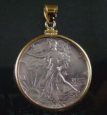 Coin Jewelry Pendant Vintage WALKING LIBERTY HALF DOLLAR 14K Gold Filled Bezel
