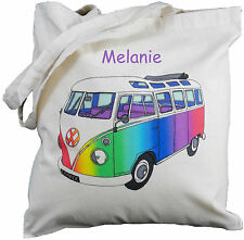 PERSONALISED RAINBOW VW SPLITTY CAMPER VAN COTTON BAG