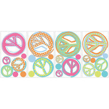 PEACE SIGNS wall stickers 26 glitter colorful decals room decor groovy