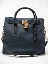 $358 NWT MICHAEL KORS HAMILTON LARGE NORTH SOUTH TOTE PURSE BAG NAVY 30S2GHMT3L