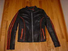 Womens Harley Colors INTERSTATE Fitted LEATHER Motorcycle Jacket Size S & Lining