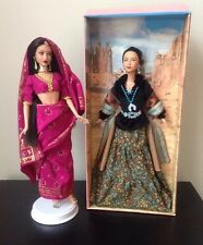 Mattel Barbie Princess DOTW India And Navajo With Stands Complete Outfits