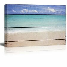 "Canvas Prints Wall Art - Tropical Beach on Vintage Wood Background - 16"" x 24"""