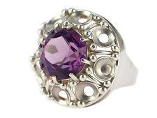 Art Deco Damen 900 Silber 2,0 ct Amethyst Solitär Ring handgefertigt