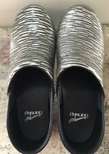 DANSKOS PROFESSIONAL SILVER WITH BLACK CLOG WOMEN'S SIZE 38 $135 NWOT