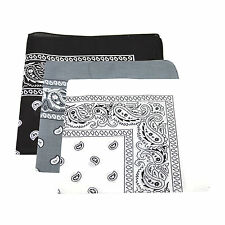 3 x Paisley Pattern Bandana Head / Neck Scarf 100% Cotton (Black & White & Grey)