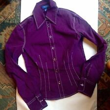ESCADA SPORT Long Sleeve Shirt FITTED PURPLE casual look Women's Size UK 6 or 34