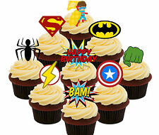 7th Birthday Superhero Edible Cup Cake Toppers, 36 Boys Stand-up Bun Decorations