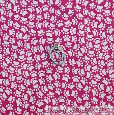 BonEful FABRIC FQ Cotton Quilt Pink White Dog Dot Kitty Cat Mouse Paw Print Girl