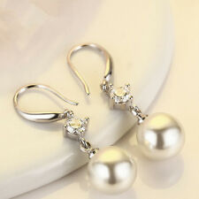 Women 925 Sterling Silver Crystal Pearl Drop Dangle Earrings Fashion Jewelry OL