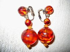 VTG MULTIPLE SIZE STRIATED AMBER COLOR ACRYLIC BEAD DROP DANGLE CLIP-ON EARRINGS