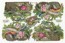 Oblaten Glanzbild  scrap die cut chromo alter Bogen L & B Nr. 2336 Fische Blumen