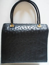 Vtg Italy Genuine OSTRICH Black BUTTER SOFT Leather Accordion Kelly Handbag MINT
