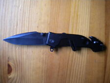 BLACK  POLICE  FOLDING KNIVE  Surplus Knife  not camillus no army ONE HAND