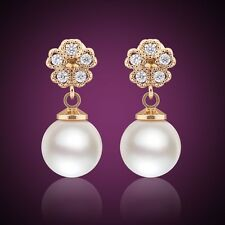 Charming Swarovski crystal 18k gold filled white pearl dashing dangle earring